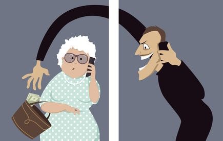 Scammer talks on a phone with a senior woman and trying to steal money out of her purse, vector illustration, no transparencies, EPS 8